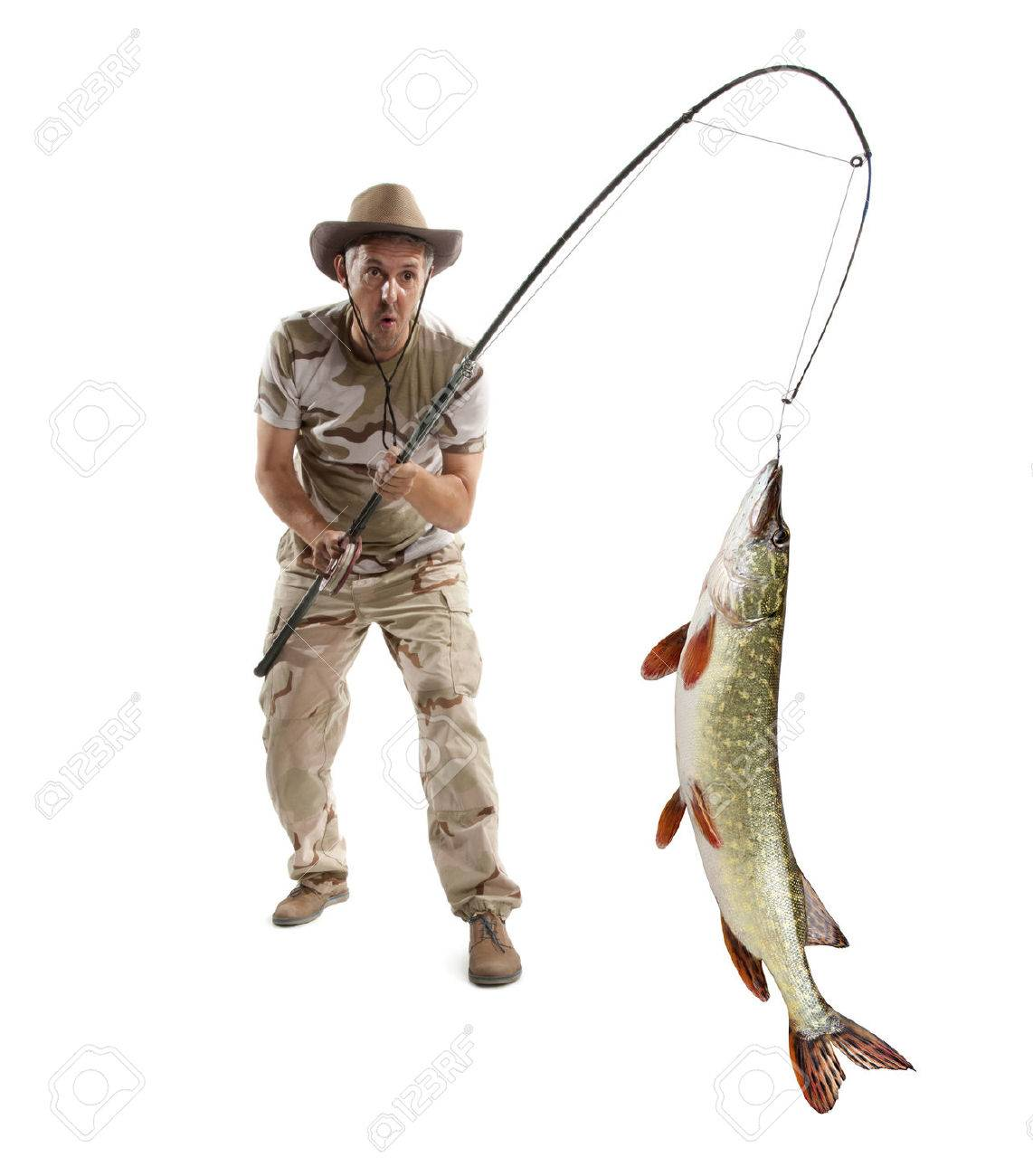 Fisherman with big fish - Pike (Esox Lucius) isolated on white - 44581671