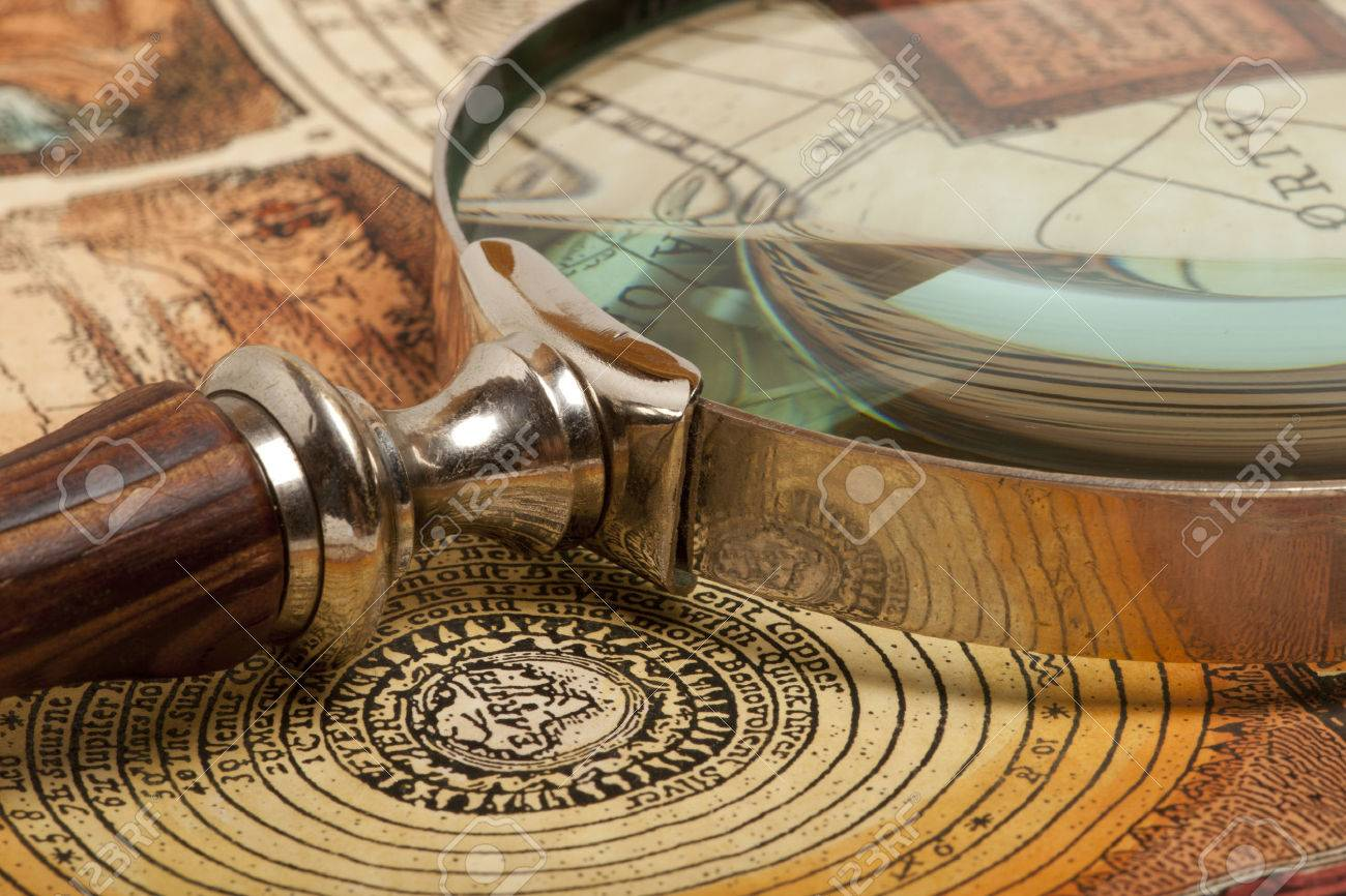 Magnifying glass and ancient old map - 46783114