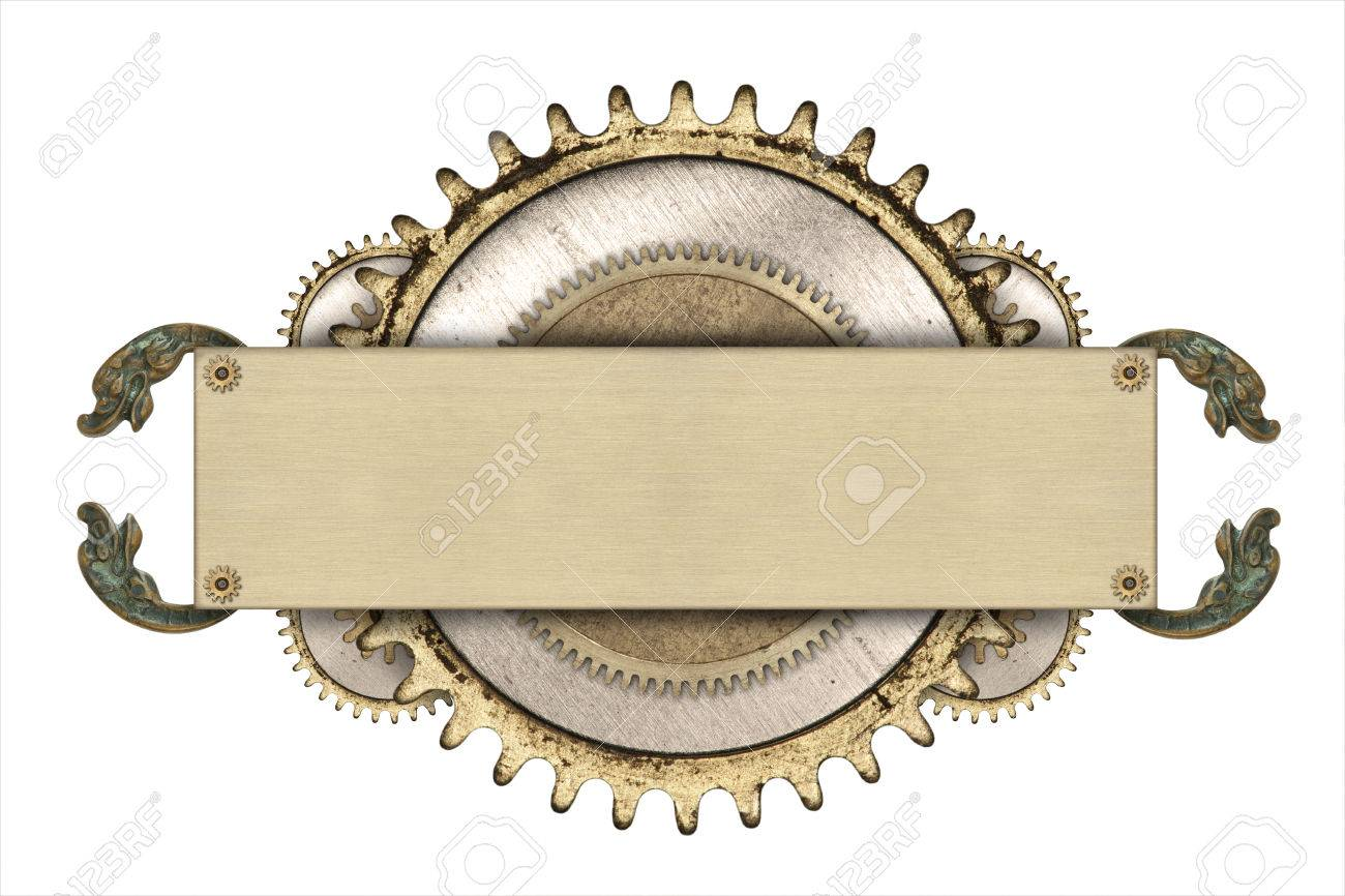 Made of metal frame and clockwork details. Mechanical steampunk collage - 47537460