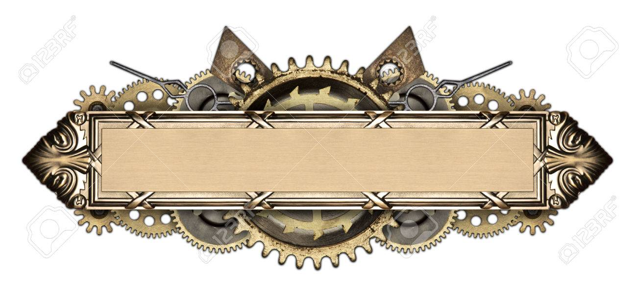 472f689eca3 Made of metal frame and clockwork details. Mechanical steampunk collage  Stock Photo - 47537461
