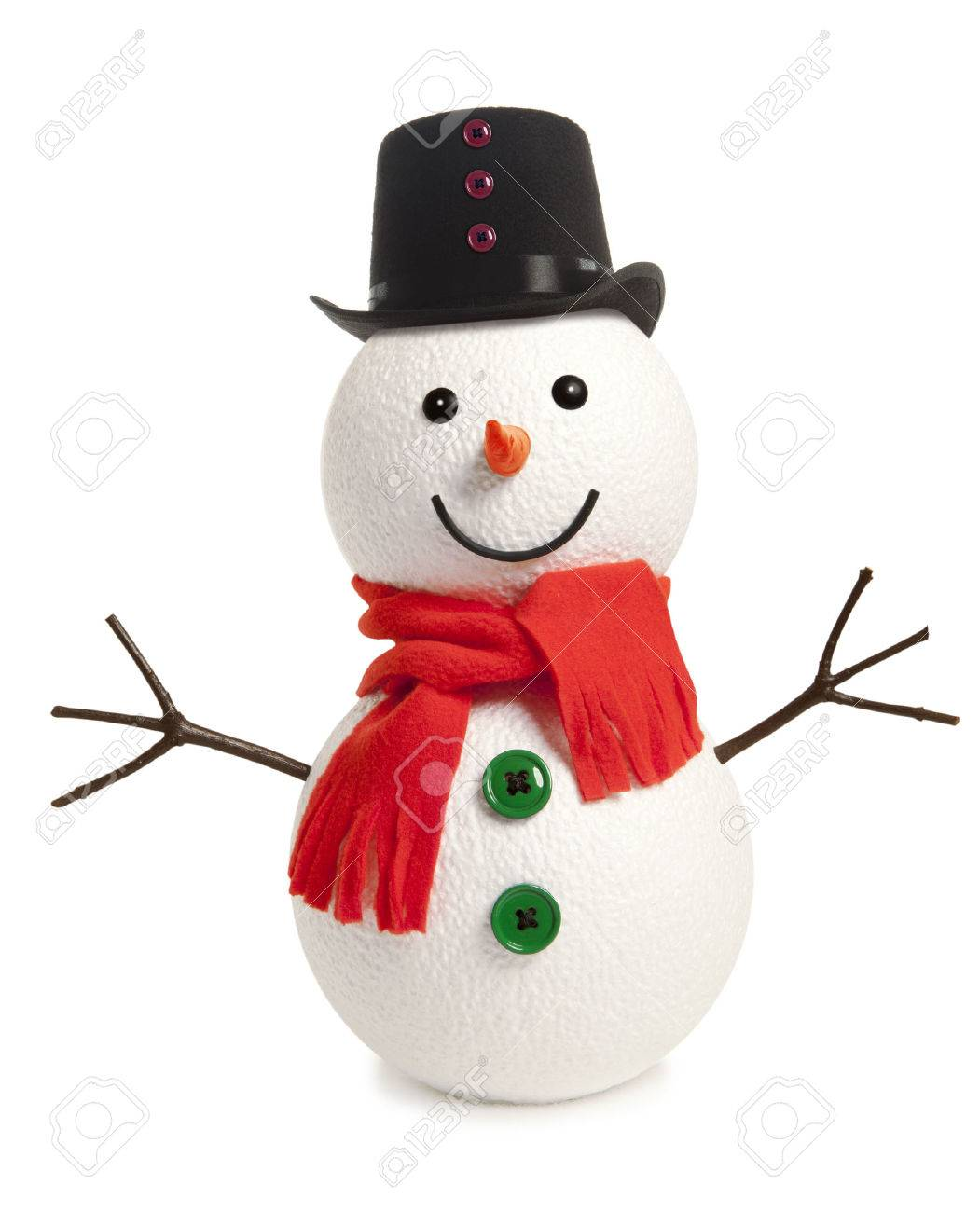 Happy snowman isolated on white background - 47920378