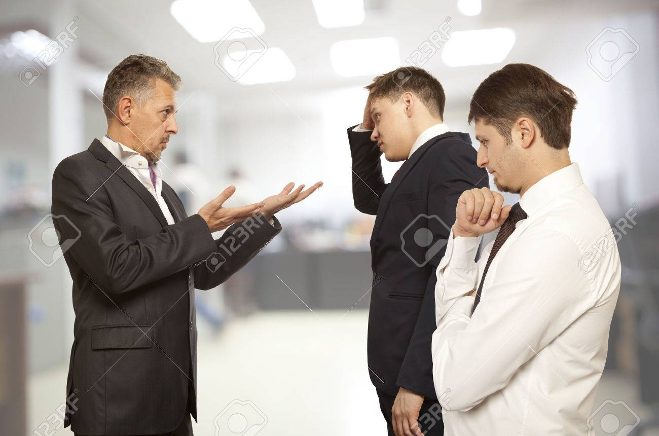 Business conflict concept. Three businessman are trying to come to an agreement - 57753002