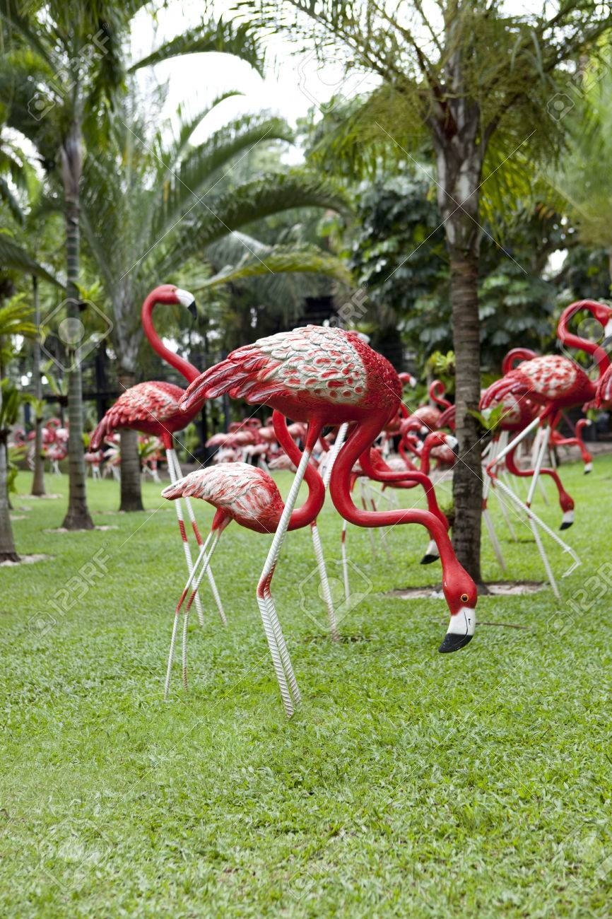 Sculptures Of Pink Flamingos Stock Photo, Picture And Royalty Free ...