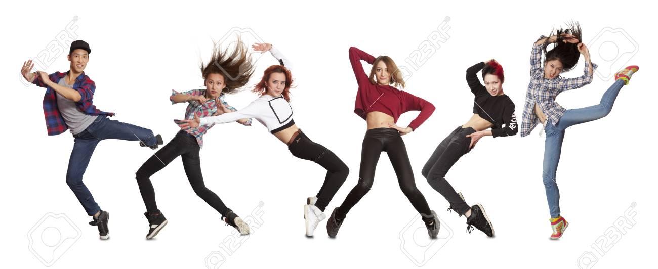 Jonge Moderne Dansgroep Oefening Dansen Geïsoleerd Op Wit Royalty