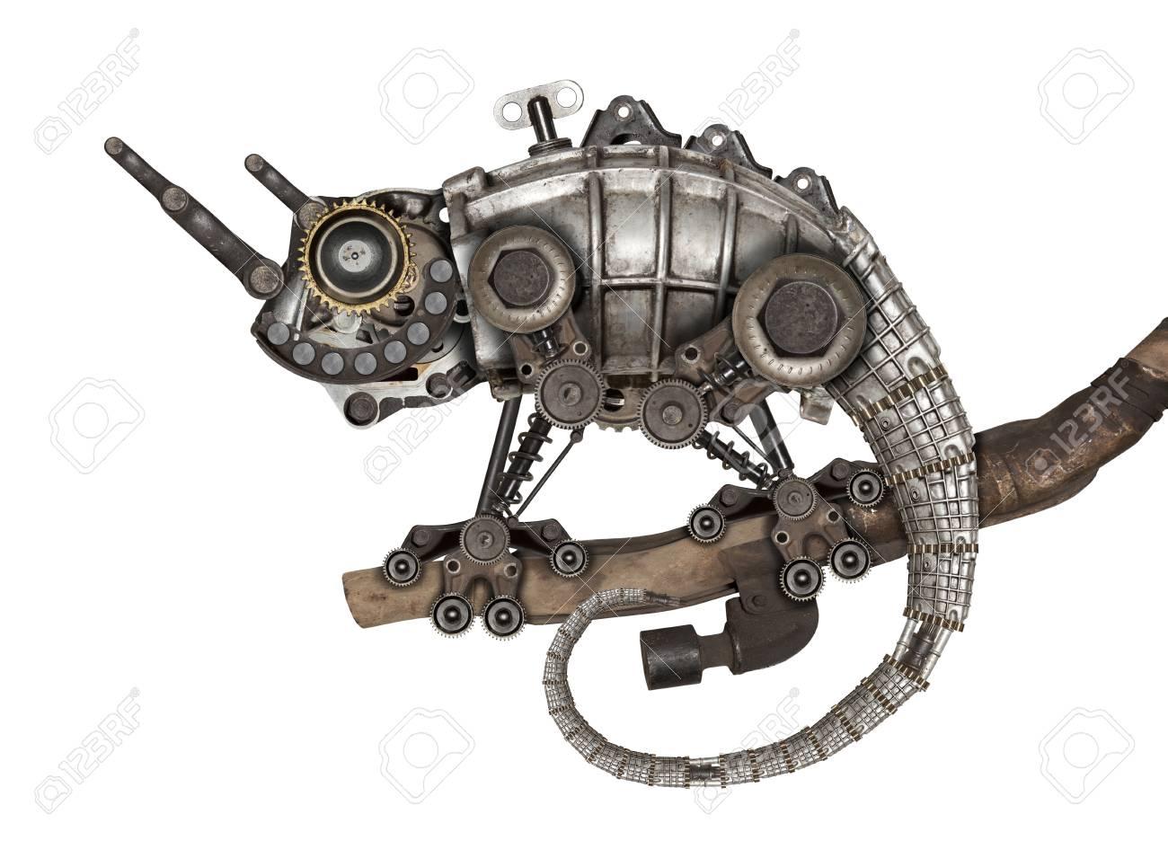 Steampunk style lizard. Mechanical animal photo compilation - 83568371