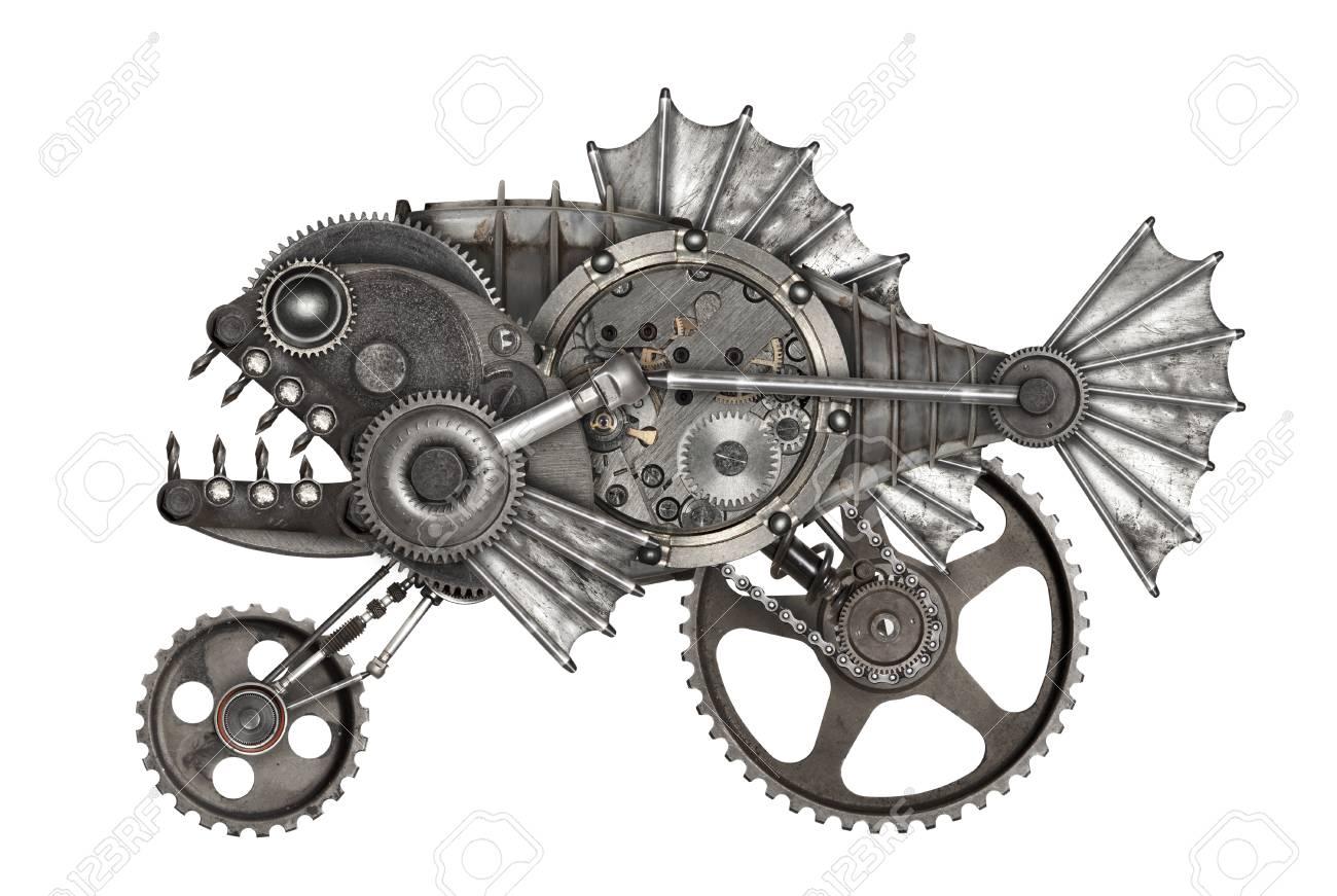 Steampunk style piranha. Mechanical animal photo compilation - 83664065