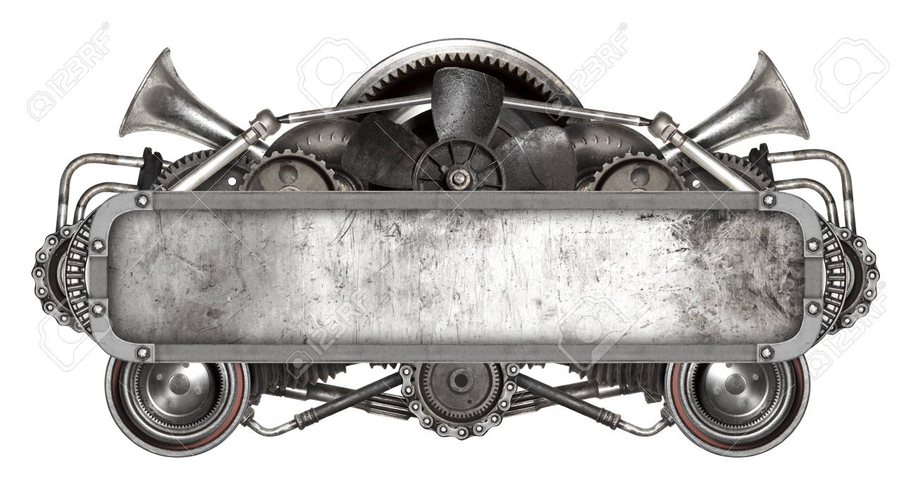 Metal Frame And Old Auto Spare Parts Car Isolated White Background ...