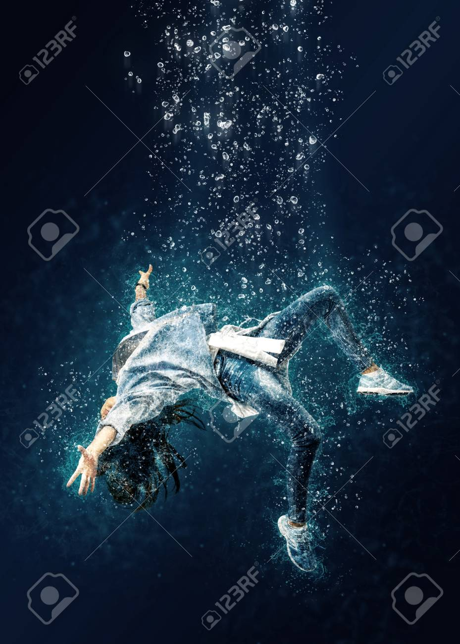 Woman is drowning under water  Horrible dream