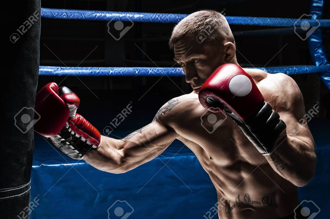 Kickboxer punches the bag. Training a professional athlete. The concept of mma, wrestling, muay thai. Mixed media - 143864248