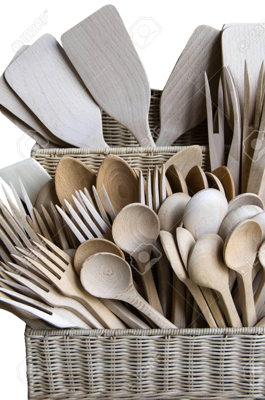 Wooden Küchenutensilien Gesetzt, Isoliert Auf Weiß Lizenzfreie Fotos ...
