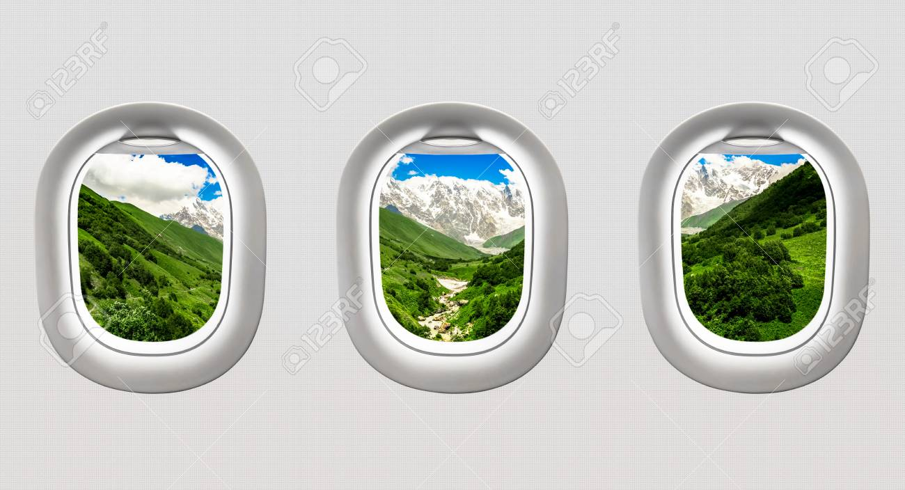 View of mountains in Georgia from airplane windows - flight concept Stock Photo - 73496980