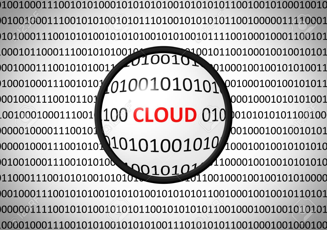 Binary code with CLOUD and magnifying lens on white background Stock Photo - 73507559