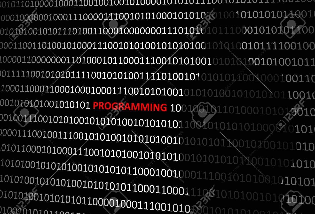 Anonymous hacker without face programming personal computer - binary code background Stock Photo - 73494294