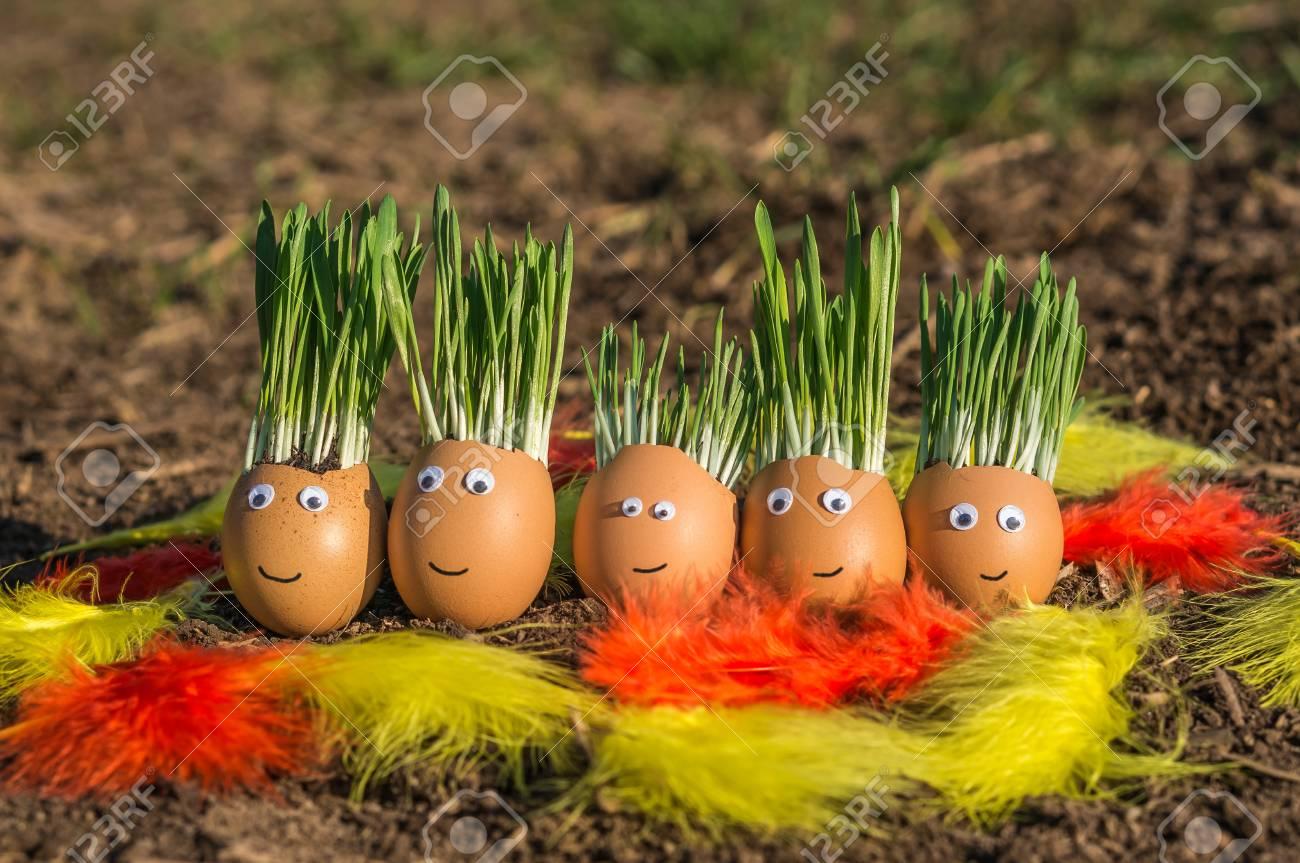 Happy egg family on the soil, Easter Stock Photo - 73525387