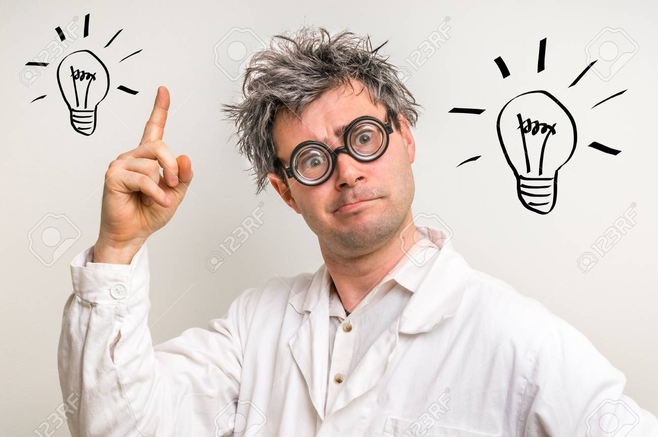 Crazy scientist got the great idea in laboratory with bulb symbol - 73553124