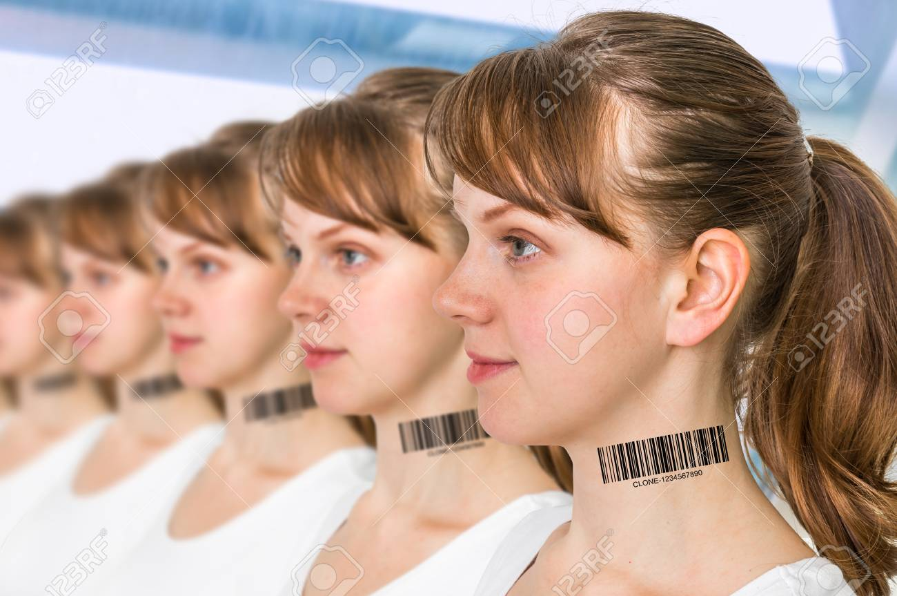 A lot of women in a row with barcode on neck - genetic clone concept - 87997575