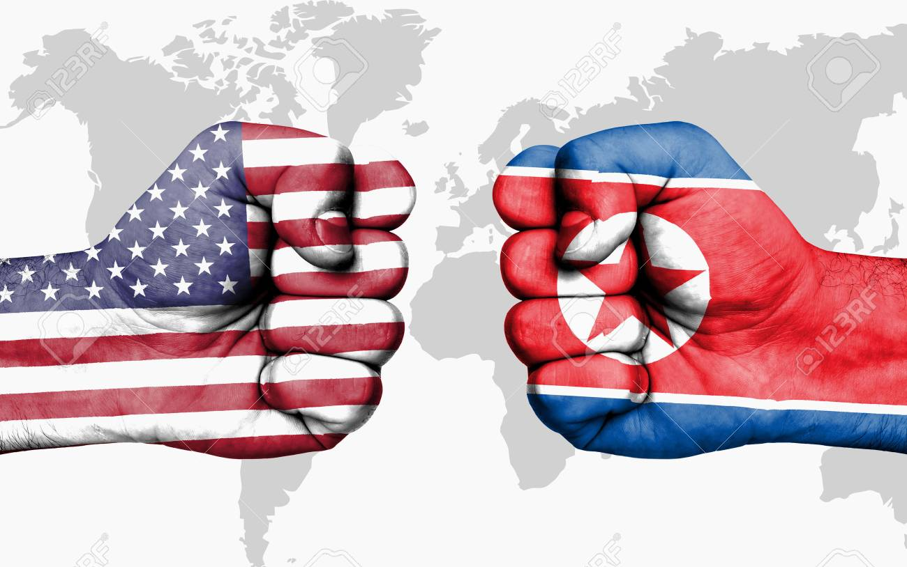 Conflict between USA and North Korea, male fists - governments conflict concept - 88053805