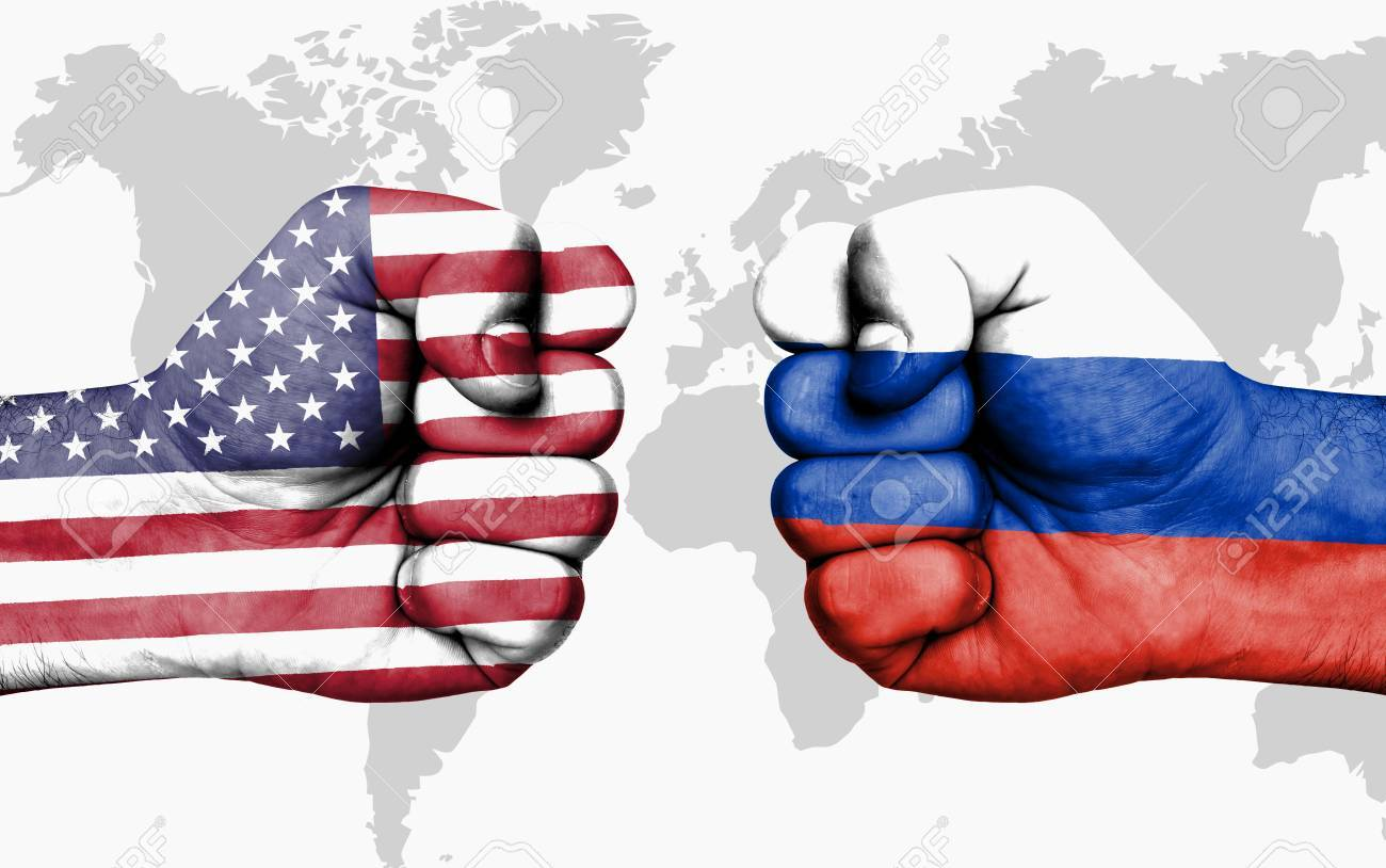Conflict between USA and Russia, male fists - governments conflict concept - 88053911