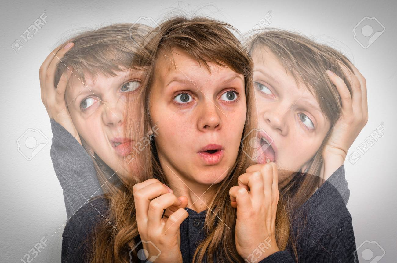 Woman with split personality suffers from schizophrenia - schizophrenia disease concept - 90034351