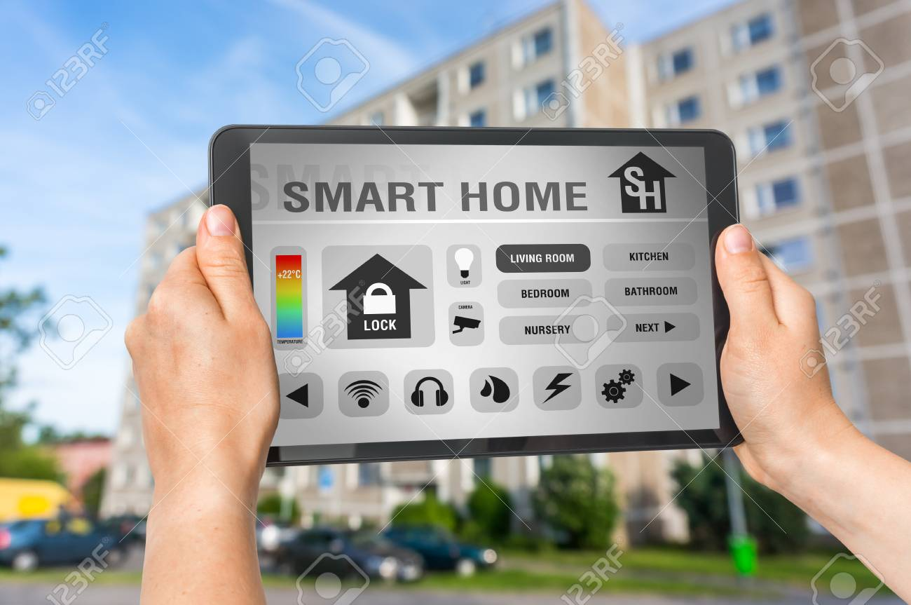 Tablet With Remote Smart Home Control System - Futuristic Smart ...