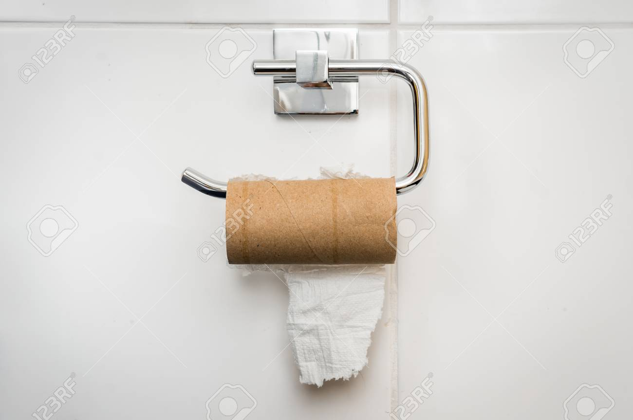 Empty Toilet Paper Roll In Public Restroom Stock Photo, Picture ...