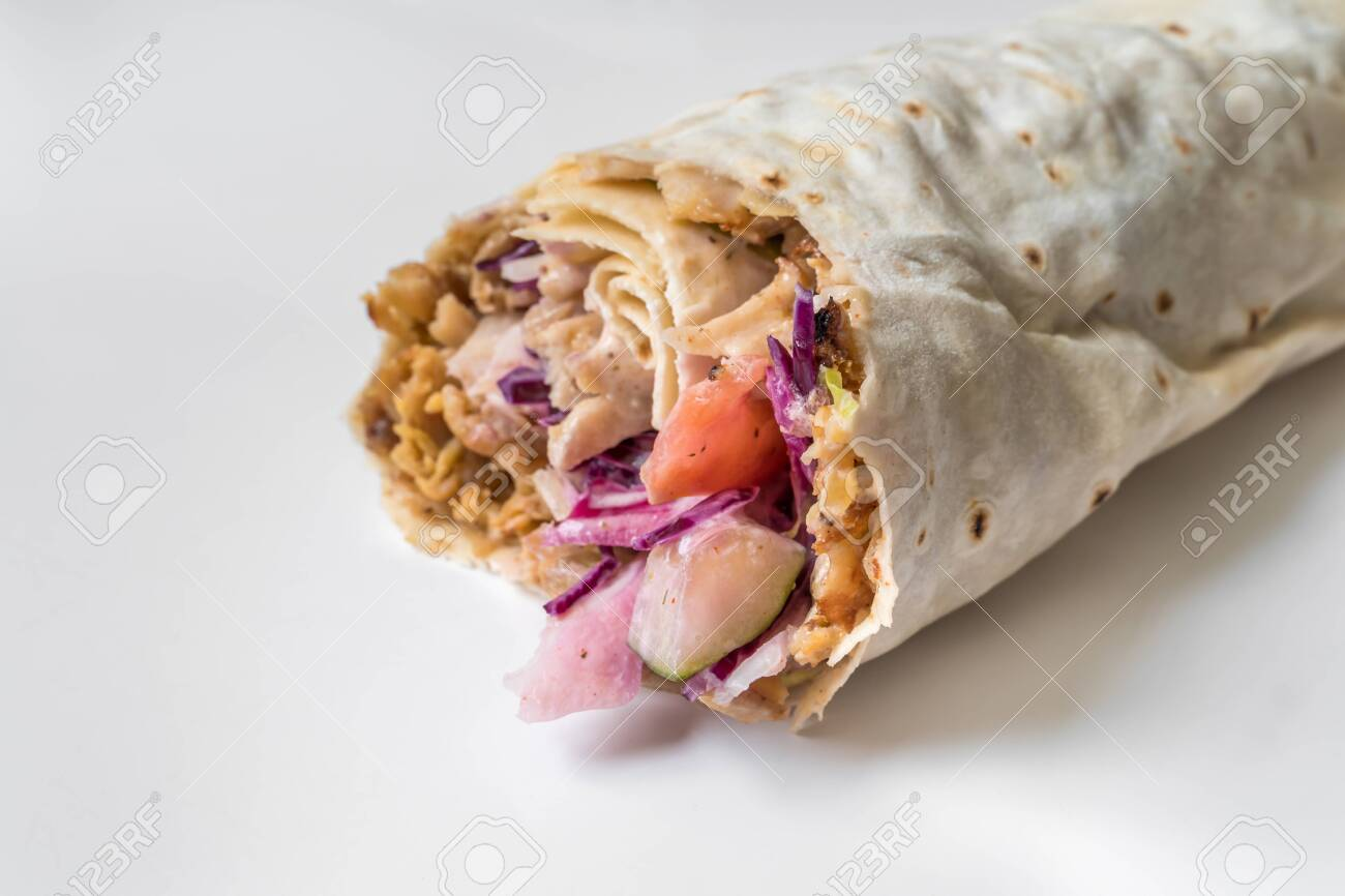 Shawarma Traditional Turkish Chicken Doner Kebap In Roll Of Stock Photo Picture And Royalty Free Image Image 132769127
