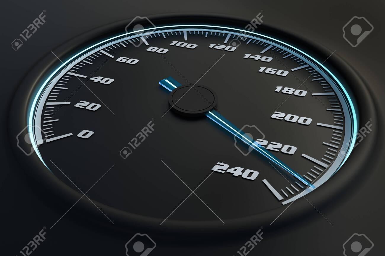 Blue speedometer in car on dashboard. 3D rendered illustration. - 133401814