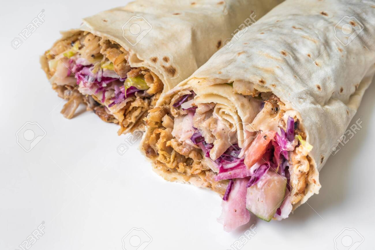 Shawarma Traditional Turkish Chicken Doner Kebap In Roll Of Stock Photo Picture And Royalty Free Image Image 135039721