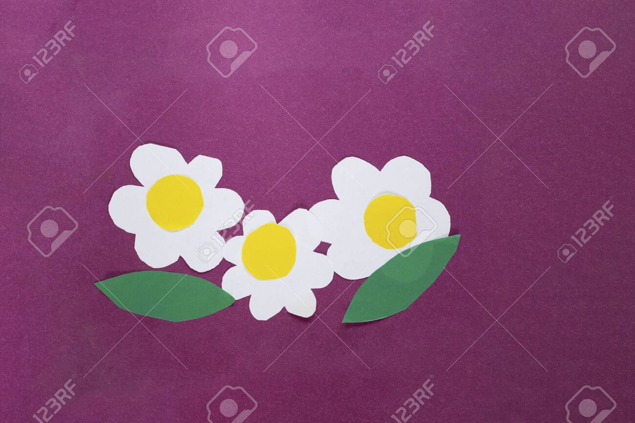 Child Greeting Card With Three Daisy With Green Leaves From Paper