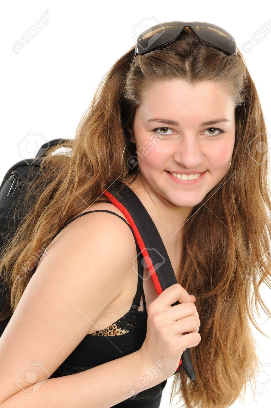 Pretty young female student carries backpack Stock Photo - 6444494