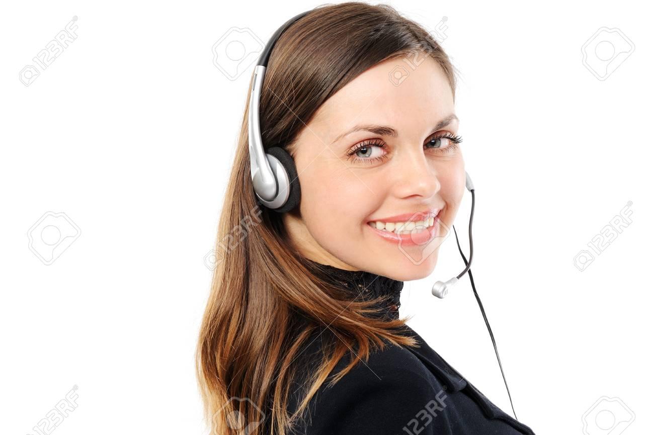 female customer service representative in headset, separately on white background Stock Photo - 6675173
