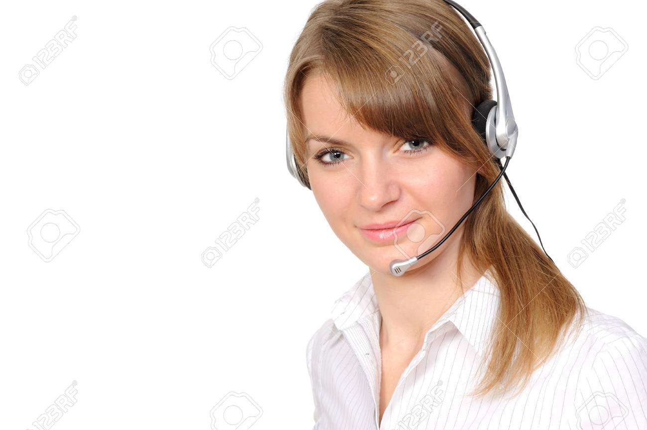 Young female customer service representative in headset on a white background Stock Photo - 6736038