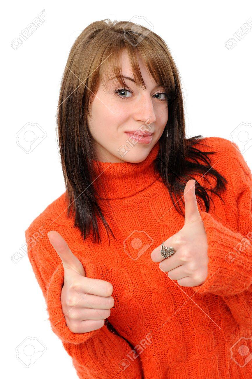 Success girl exposing greater fingers, on a white background. Stock Photo - 8668993