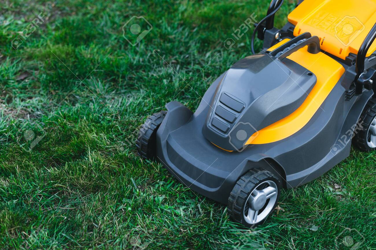 Electric lawn mower on a lawn at the garden. gardening concept - 153484665