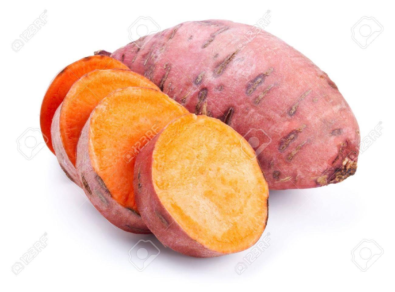 Sweet potato with slices isolated on white background Stock Photo - 13127029