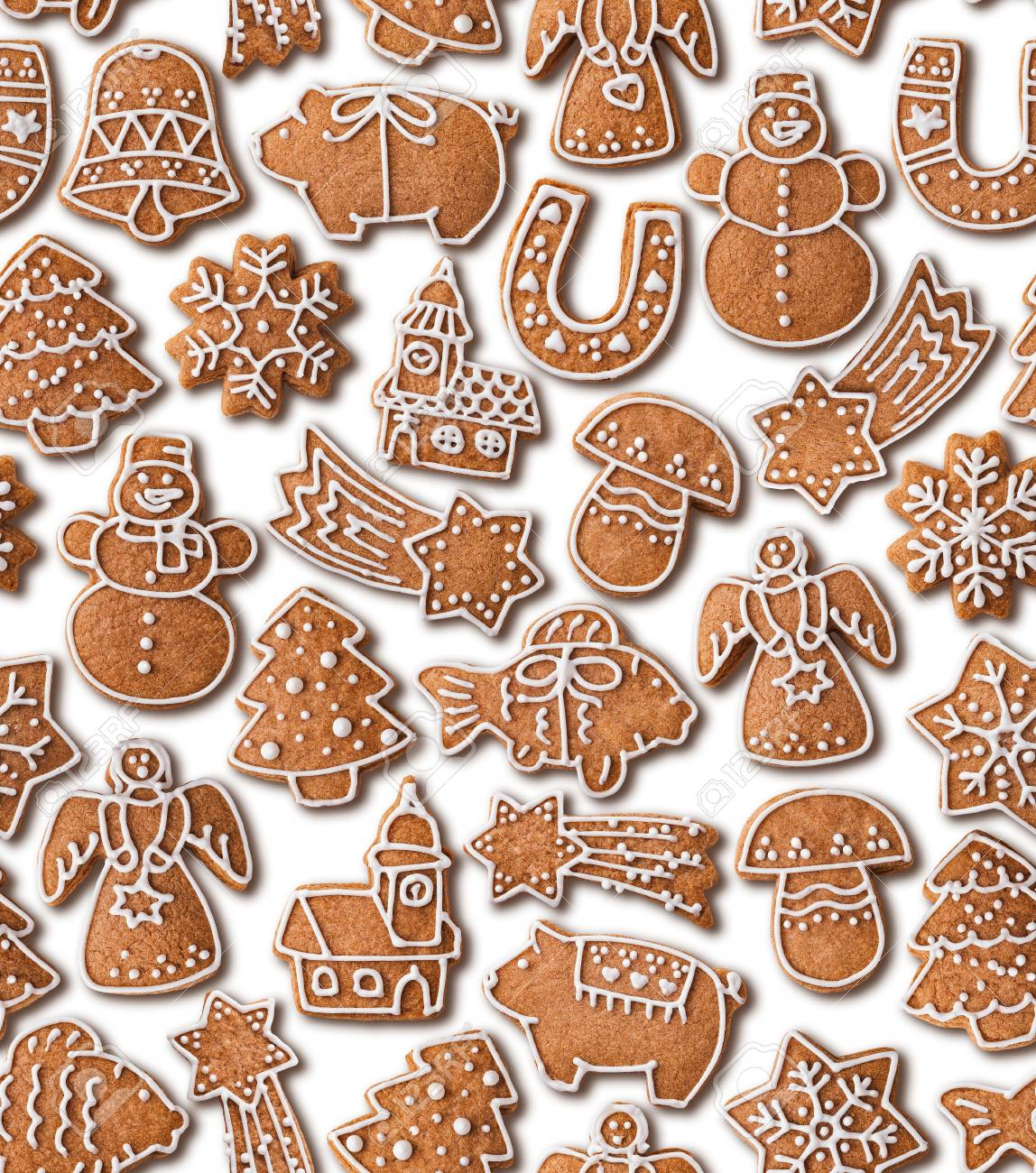Seamless Texture Background With Christmas Gingerbread Cookies