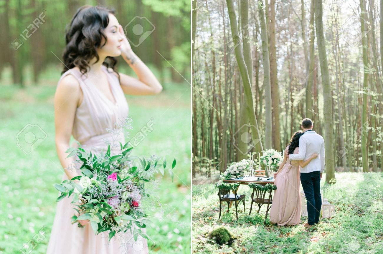 Schone Braut Und Brautigam Im Fruhjahr Wald Dekorierte Rustikale