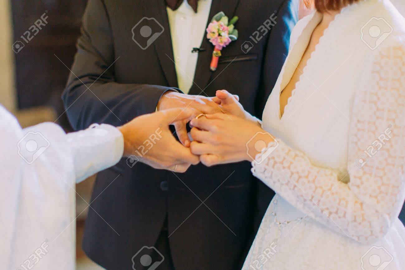 The Exchange Of Rings During An Orthodox Wedding The Priest Stock