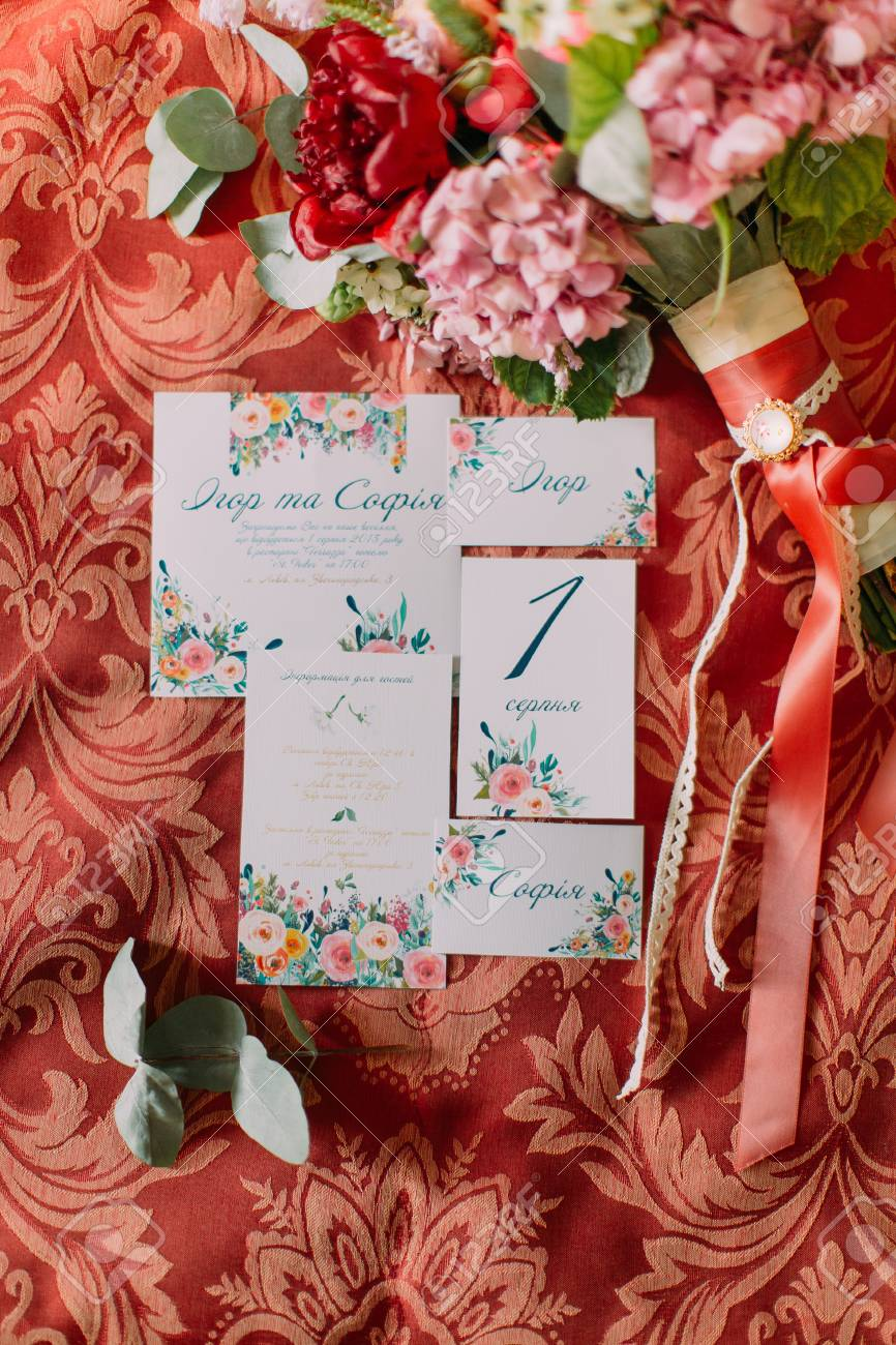 Top View Of Rose Peonies With Greenery With Wedding Invitations ...