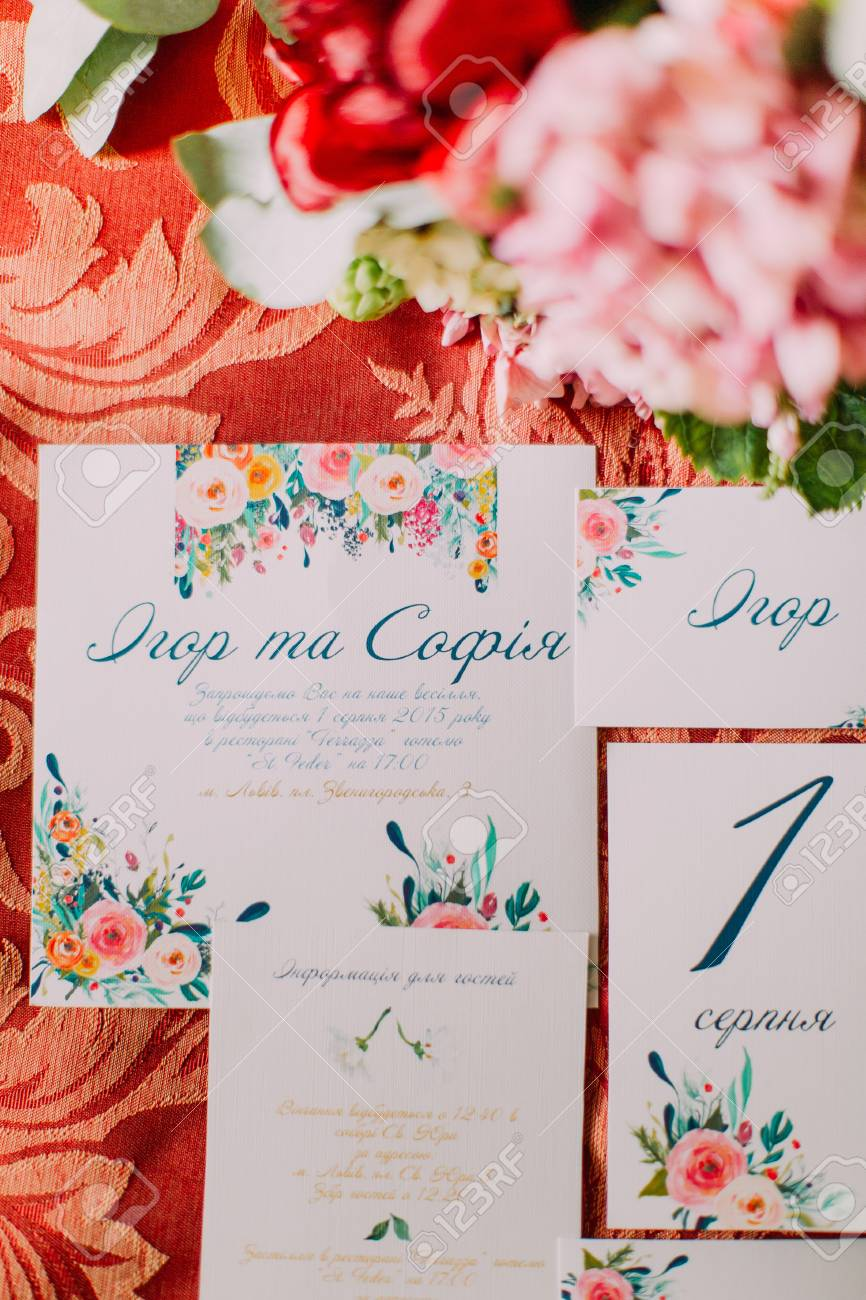 Wedding Postcard Invitation And Bridal Bouquet On The Red Background ...