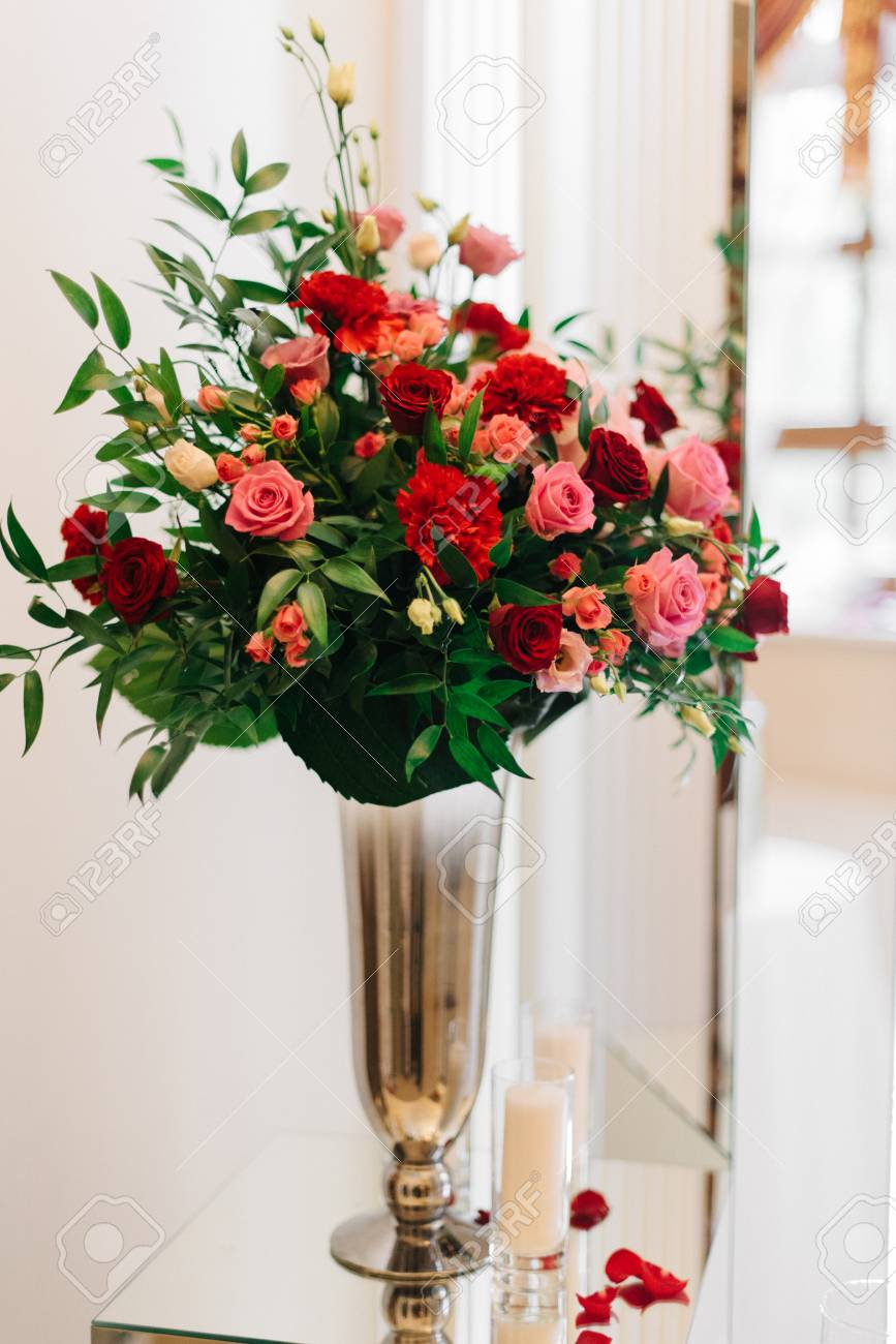 Red Rose Bouquet Stands In Bronze Vase Stock Photo Picture And Royalty Free Image Image 68625124