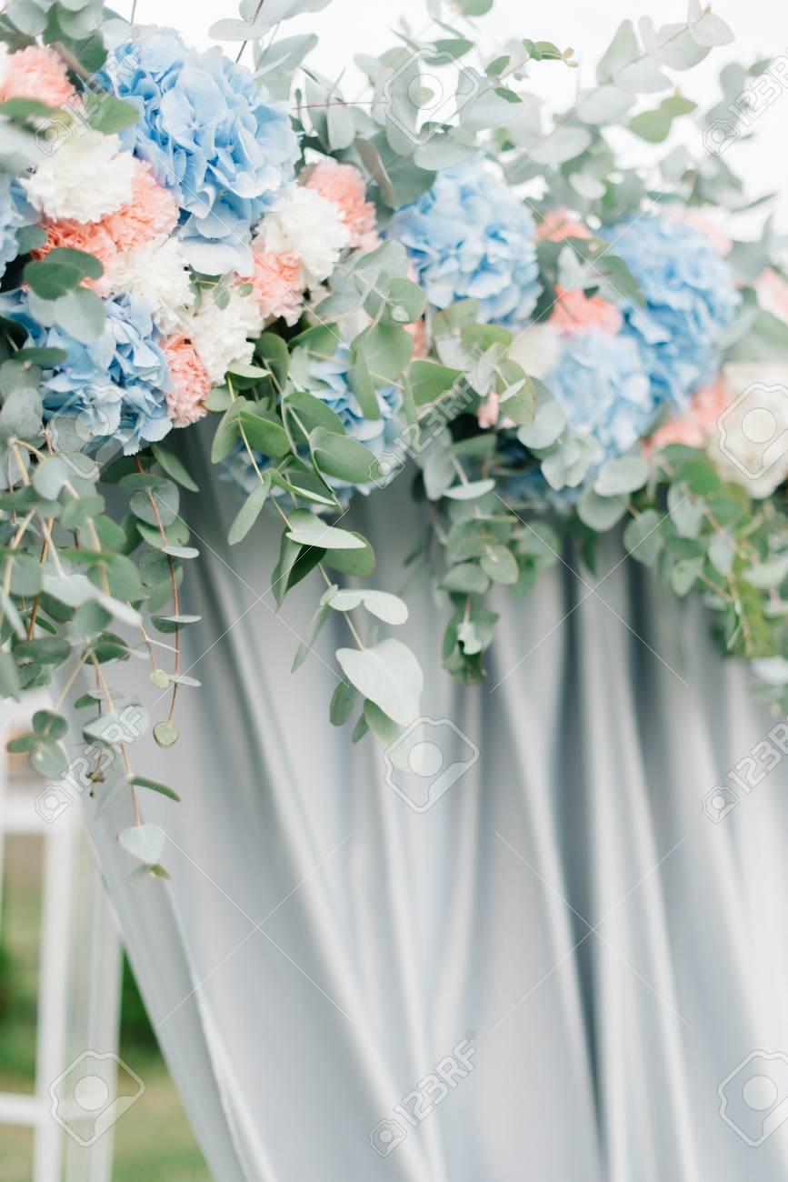 Festoon made of pastel pink and blue hydrangeas hangs over wedding festoon made of pastel pink and blue hydrangeas hangs over wedding altar stock photo 66467748 junglespirit Gallery