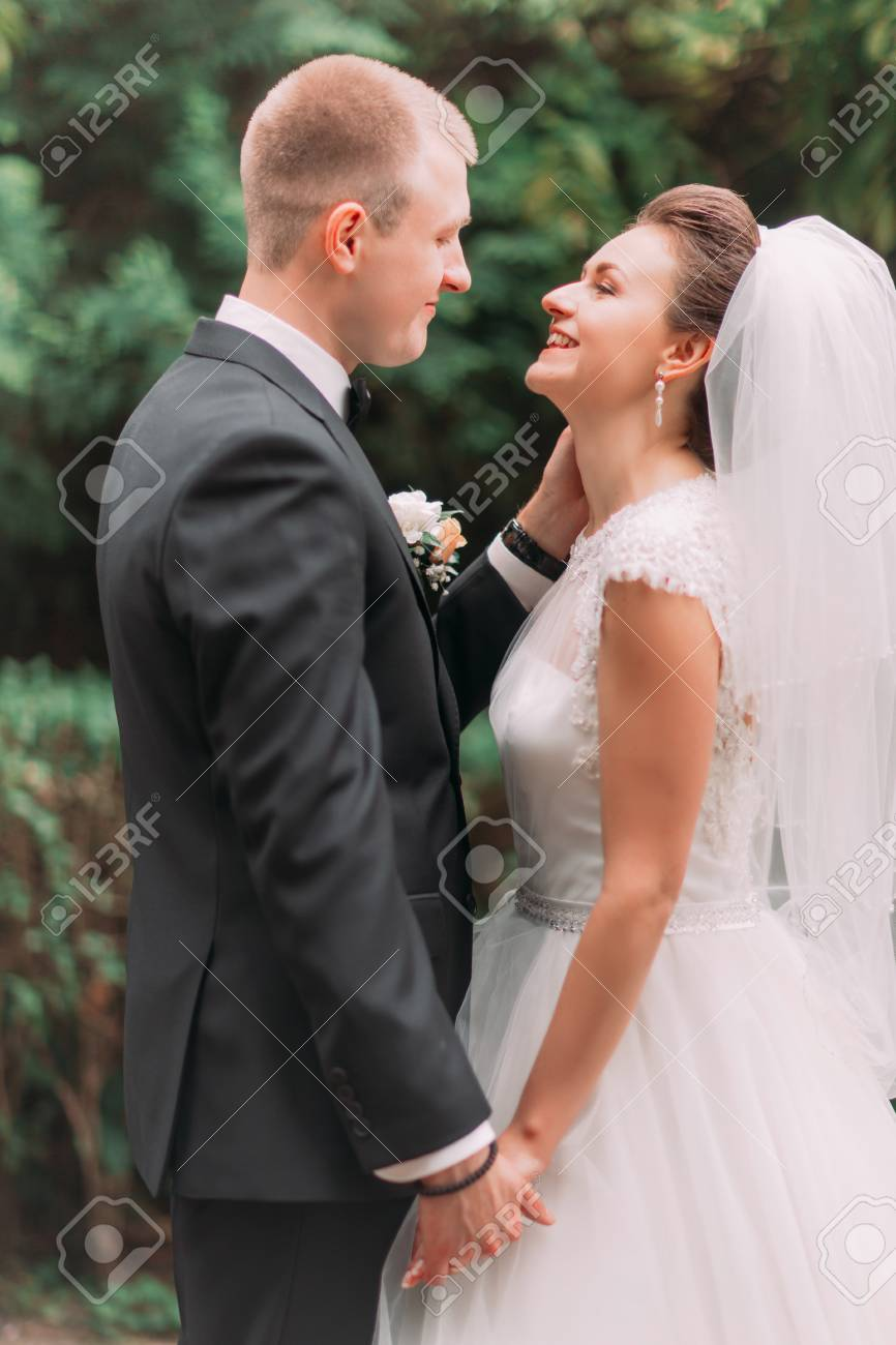 The Side Portrait Of The Smiling Groom Petting The Face Of The Stock Photo Picture And Royalty Free Image Image 83176917