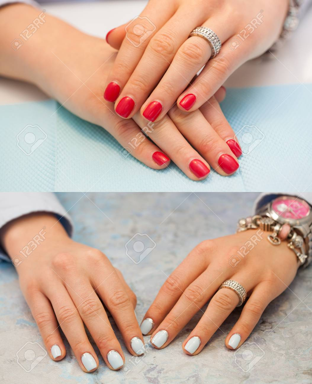 Collage Of Manicure Female Hands With Red Nails The Light Blue