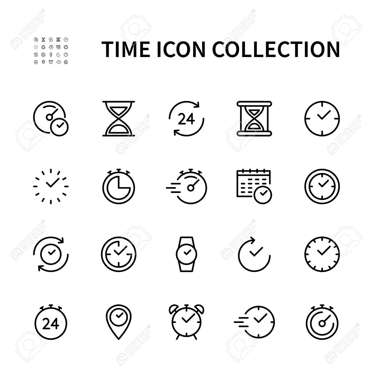 Time and clock vector linear icons set. Time management. Timer, recovery, speed, alarm, calendar, time management and more. Isolated collection of time for web sites icon on white background. - 166551385