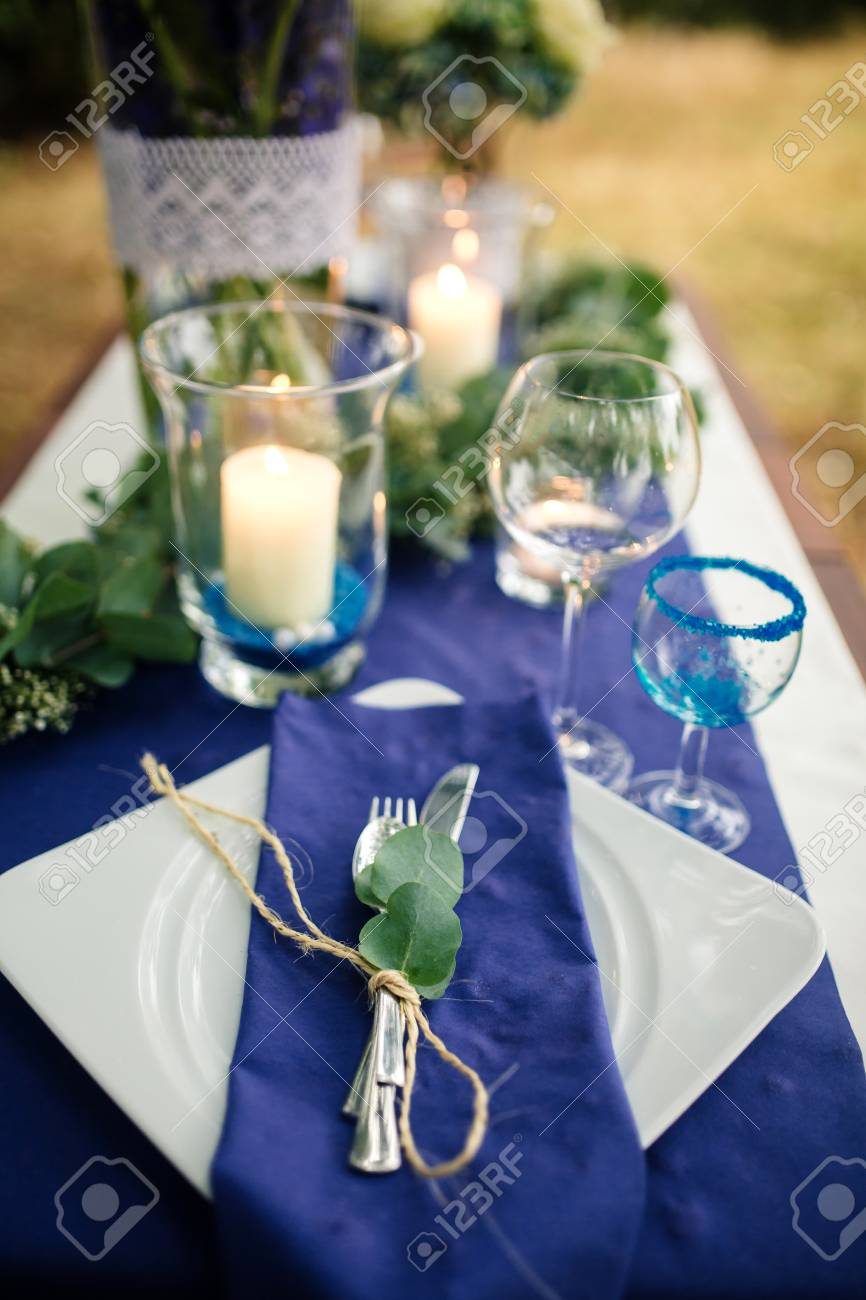 Details Wedding Decorations On The Wooden Table In The Woods
