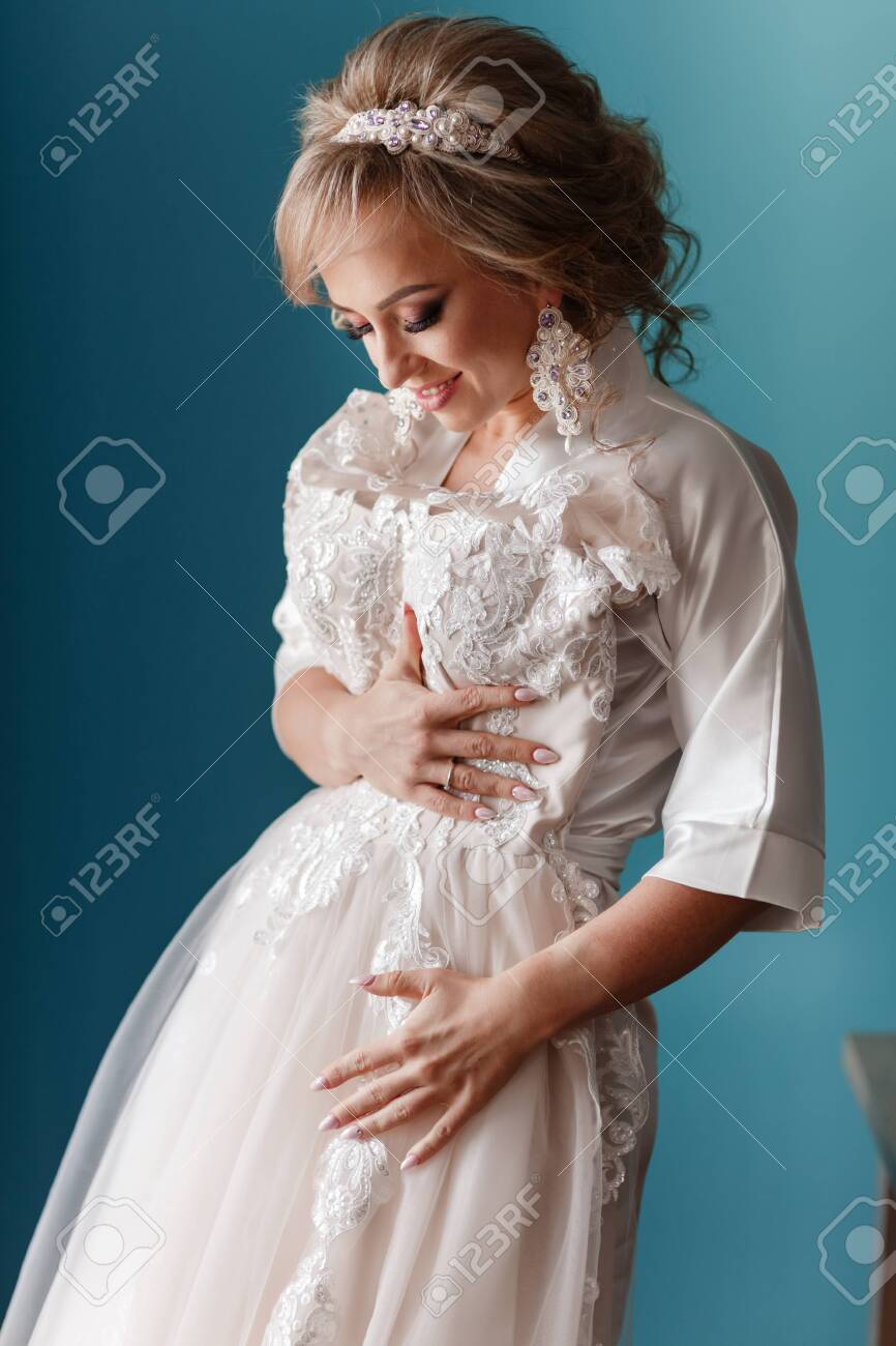 Bride Morning Preparation Happy Beautiful Young Woman In Silk Stock Photo Picture And Royalty Free Image Image 153317591