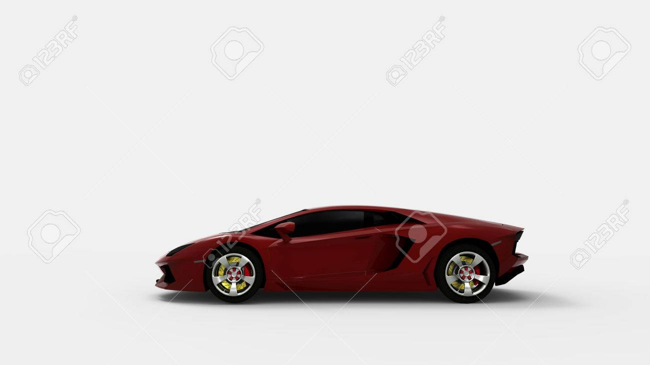 Red Sport Car On White Background.3d Render. Stock Photo - 60201428  T