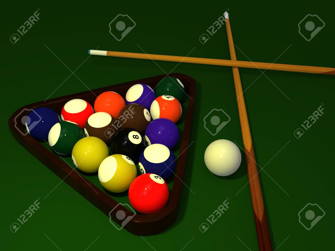 Billiard table with balls set. 3D rendering. Stock Photo - 66526017 & Billiard Table With Balls Set. 3D Rendering. Stock Photo Picture ...