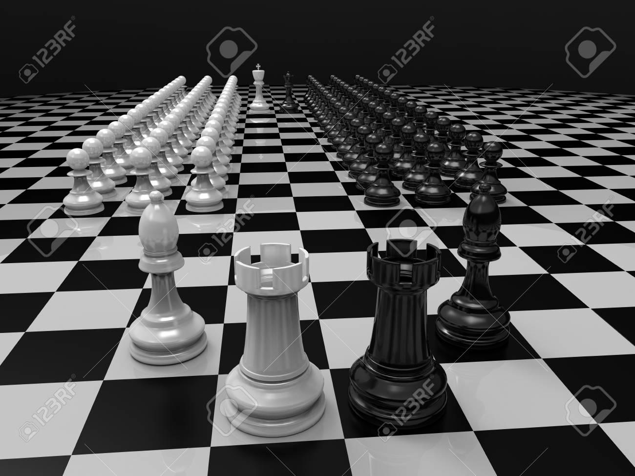 Schachfiguren Auf Dem Tisch König Und Königin Schwarzer
